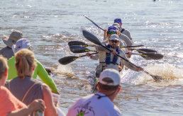 Paddlers on the Missouri River during MR340