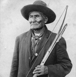 Portrait of Geronimo with a bow and arrows